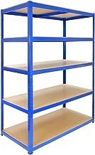 T-Rax Stellingkast - 120x60x180 cm - Blauw - 100% boutloos - Draagkracht: 280 kg per plank - Opbergrek metaal
