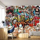 murimage Papel Pintado Grafiti 366 x 254 cm Incluyendo Pegamento Hip Hop Cuarto de los Niños Graffiti Art Grunge Arcoiris Colorido Fotomurales