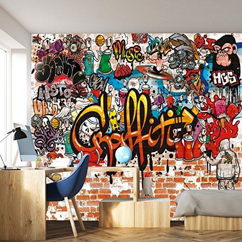 murimage Fototapete Graffiti 366 x 254 cm Kinderzimmer Steinwand bunt Jungen Steine Grafitti inklusive Kleister