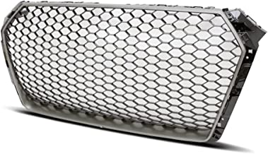 PROMOTORING For 16-18 AUDI A4/S4 B9 RS4 STYLE MAIN EURO MESH BADGELESS GRILLE - SILVER TRIM