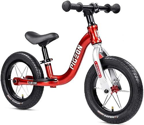 Draisiennes   Bike - Vélo à pédale d'équilibre antidérapante pour Garçon et Fille, activités de Plein air en intérieur pour Tout-Petit, de 1 à 6 Ans, 12   ( Couleur   rouge )