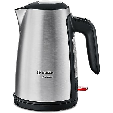 Bosch twk6a813Bouilloire Comfort Line, fonction de 1tasses, arrêt automatique–à vapeur, Filtre anti-calcaire entnehmen, 2400W, acier inoxydable/noir