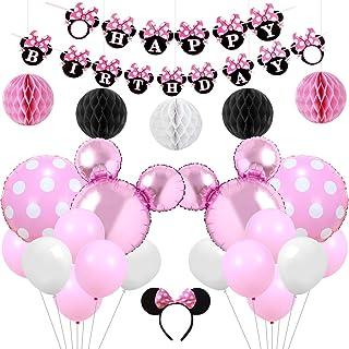 Kreatwow Rosa Minnie temática Fiesta Suministros Decoraciones Minnie Feliz cumpleaños Banner Diadema para 1er 2do 3er cumpleaños Baby Shower