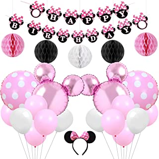 Kreatwow Pink Minnie Themd Party Supplies Decorations Minnie Happy Birthday Banner Headband for Birthday
