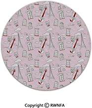 3D Printed Modern No-Shedding Non-Slip Rugs,Abstract City Image Violin Cat with Bow Tie Eiffel Tower Illustration Decorative 2' Diameter Pale Pink Scarlet White,Machine Washable Round Bath Mat