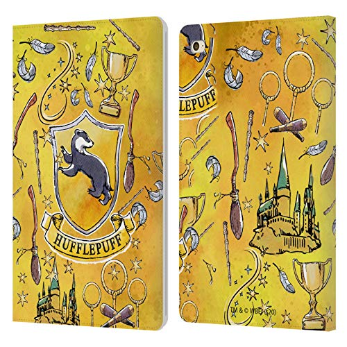 Official Harry Potter Hufflepuff Pattern Deathly Hallows XIII Leather Book Wallet Case Cover Compatible For Apple iPad mini 4