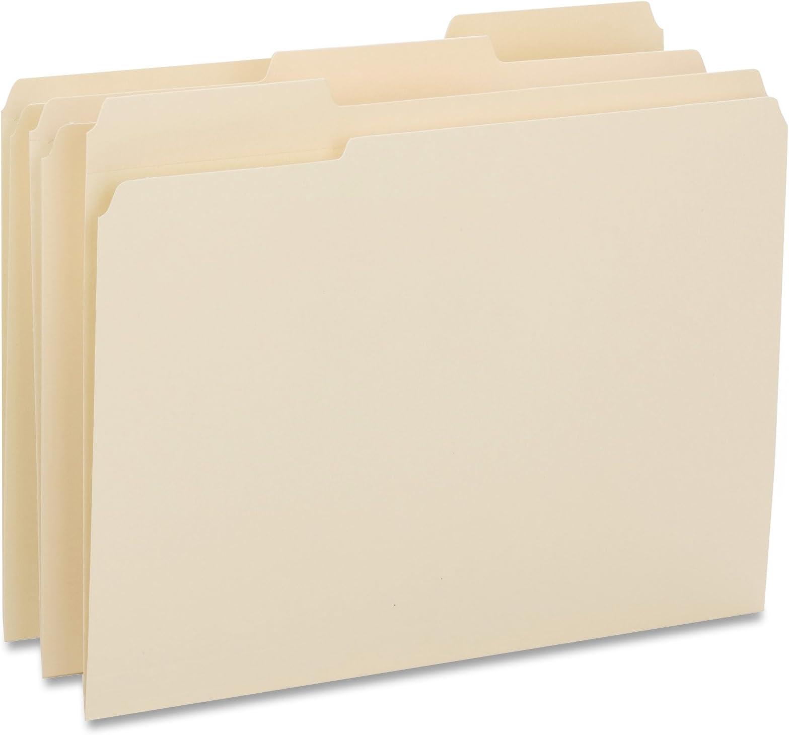 Business Source 1/3 Cut Top Tab File Folders - Box of 50 - Manila