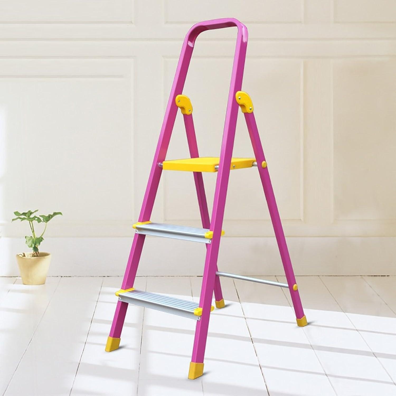 DDSS Aluminium 3 Step Stool Ladder for Adults & Kids Kitchen Folding Chairs Portable Footstool Stepladder Storage Shelf Flower Rack Multifunctional Stool (color   Pink)