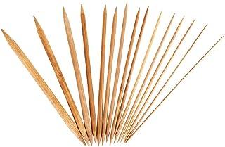 Agujas de Tejer, 75pcs conjunto de agujas de tejer de bambú, agujas de tejer carbonizadas de doble punta para DIY creativo...