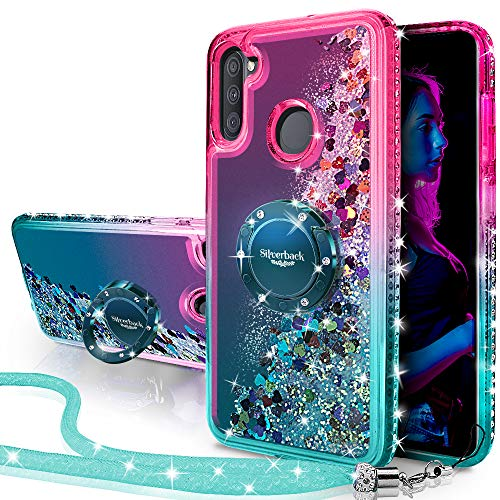 Galaxy A11 Case, Silverback Moving Liquid Holographic Sparkle Glitter Case with Kickstand, Bling Diamond Rhinestone Bumper W/Ring Slim Protective Samsung Galaxy A11 Case for Girls Women -Green