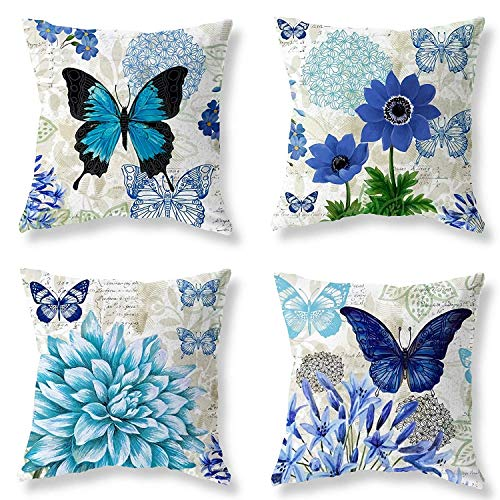 BCKAKQA Throw Pillow Covers 18 x 18 inch Blue Floral Butterfly Cushion Covers 45cm x 45cm Soft Polyester Square Throw Pillow Case for Living Room Sofa Couch Bed Pillowcases Set of 4