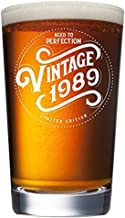1989 30th Birthday Gifts for Men Women Beer Glass   Funny Vintage 30 Year Old   16 oz Pint Glasses Party Decorations Supplies   Gift Ideas for Dad Mom Husband Wife   Best Craft Beers Mug Cup Man Woman