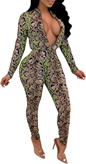 Women Long Sleeve Snake Skin Print Zipper Tie Waist Bodycon Long Pants Jumpsuits Rompers