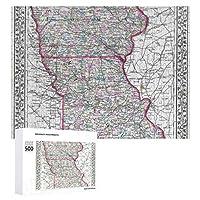 INOV 1874年頃アイオワ及びミズーリ 旧式な地図 ジグソーパズル 木製パズル 500ピース キッズ 学習 認知 玩具 大人 ブレインティー 知育 puzzle (38 x 52 cm)