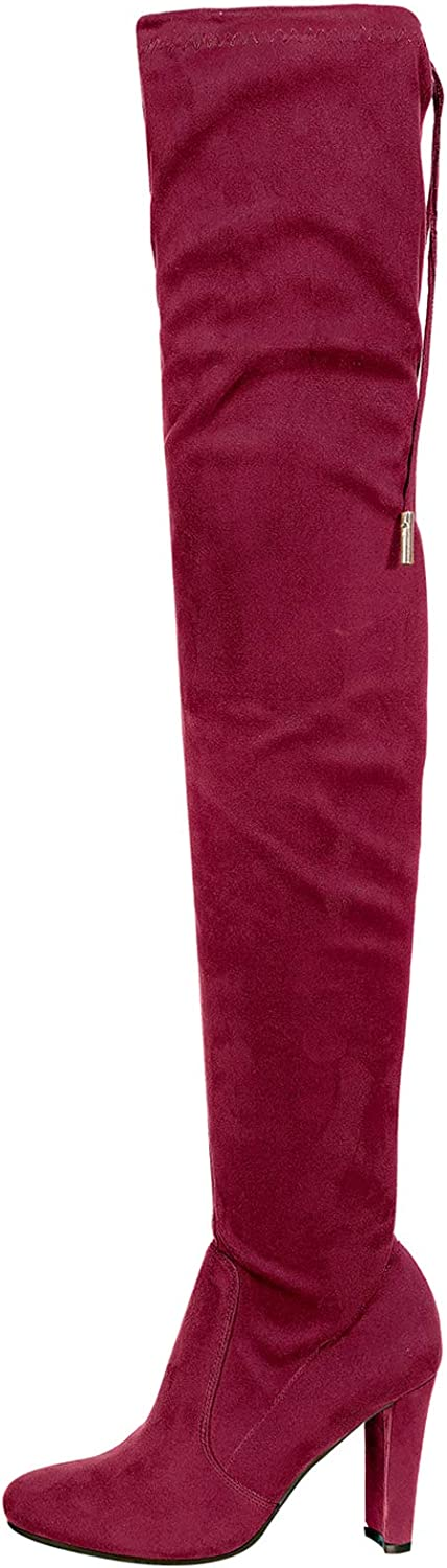 Nature Breeze Women Faux Suede Thigh High Drawstring Cupped Heel Boot FH66