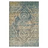 SUPERIOR Eddard Indoor Area Rug, Super Soft, Durable, Elegant, Vintage, Moroccan Pattern, Jute Backing, Blue Beige, 4' x 6' Runner