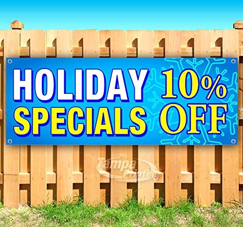 Holiday Specials 10/% 13 oz Banner Heavy-Duty Vinyl Single-Sided with Metal Grommets