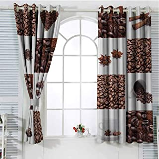 Kitchen Patio Door Curtains for Bedroom Coffee with Roasted Beans Concept Collage Hearts Stars Espresso Latte Mugs Aroma Thermal Insulated Noise Reducing W107 x L107 Inch Brown White