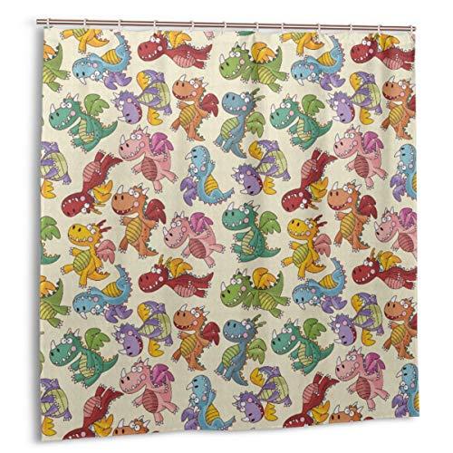 Rideaux de Douche pour Salle de Bains,Baby Loving Dangerous Happy Dinasours in Rainbow Colored Nursery Kids Print,Facile à Nettoyer Inclus 12 Crochets