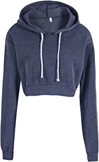 Womens Pullover Hoodie Round-Neck Crop Tops Long Sleeve Solid Colour Sweatshirt Blouse