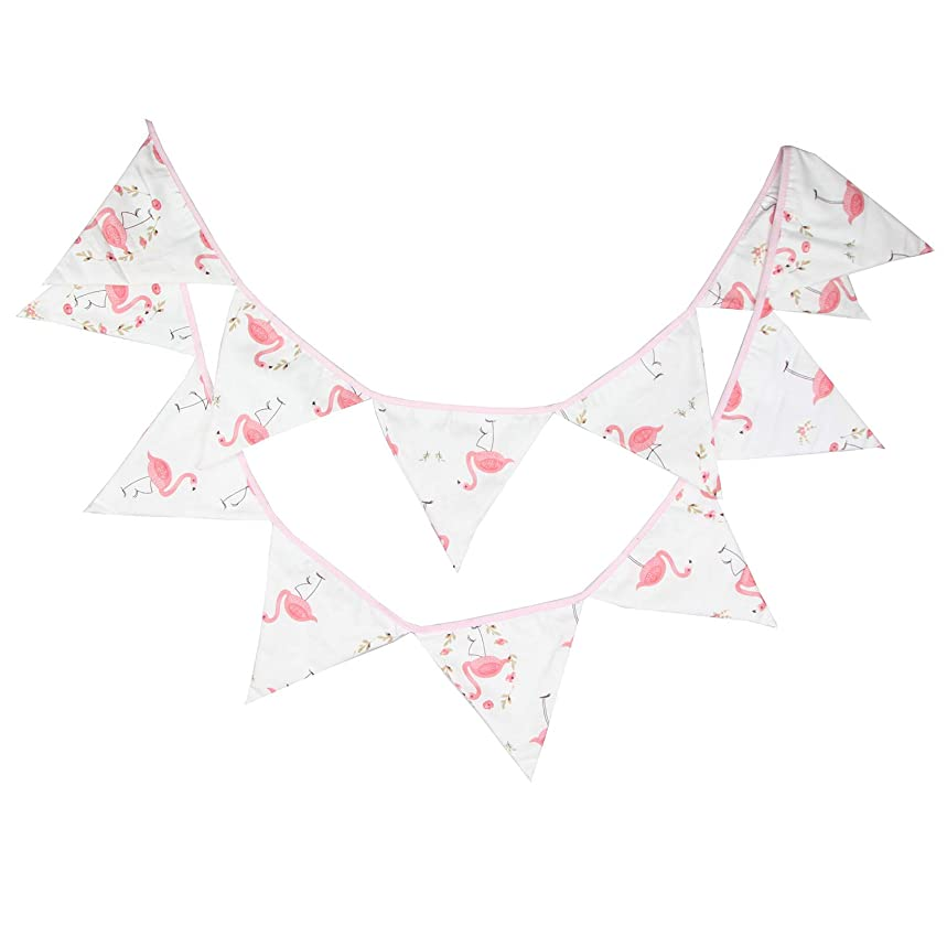 DalosDream 10.56 Feet Teepee Flag Cotton Pennant Banner 12 Pieces Triangle Flag Bunting for Teepee Tent Hanging Decoration (Flamingo)