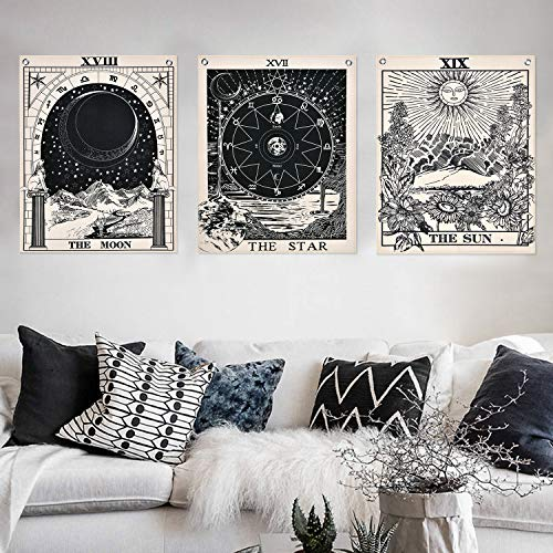 Alishomtll Tarot Wandbehang Wandteppich Set, Sonne Mond und Stern Wandtuch mit Nägel, Schwarz Weiß Baumwollleinen, 40 x 50 cm