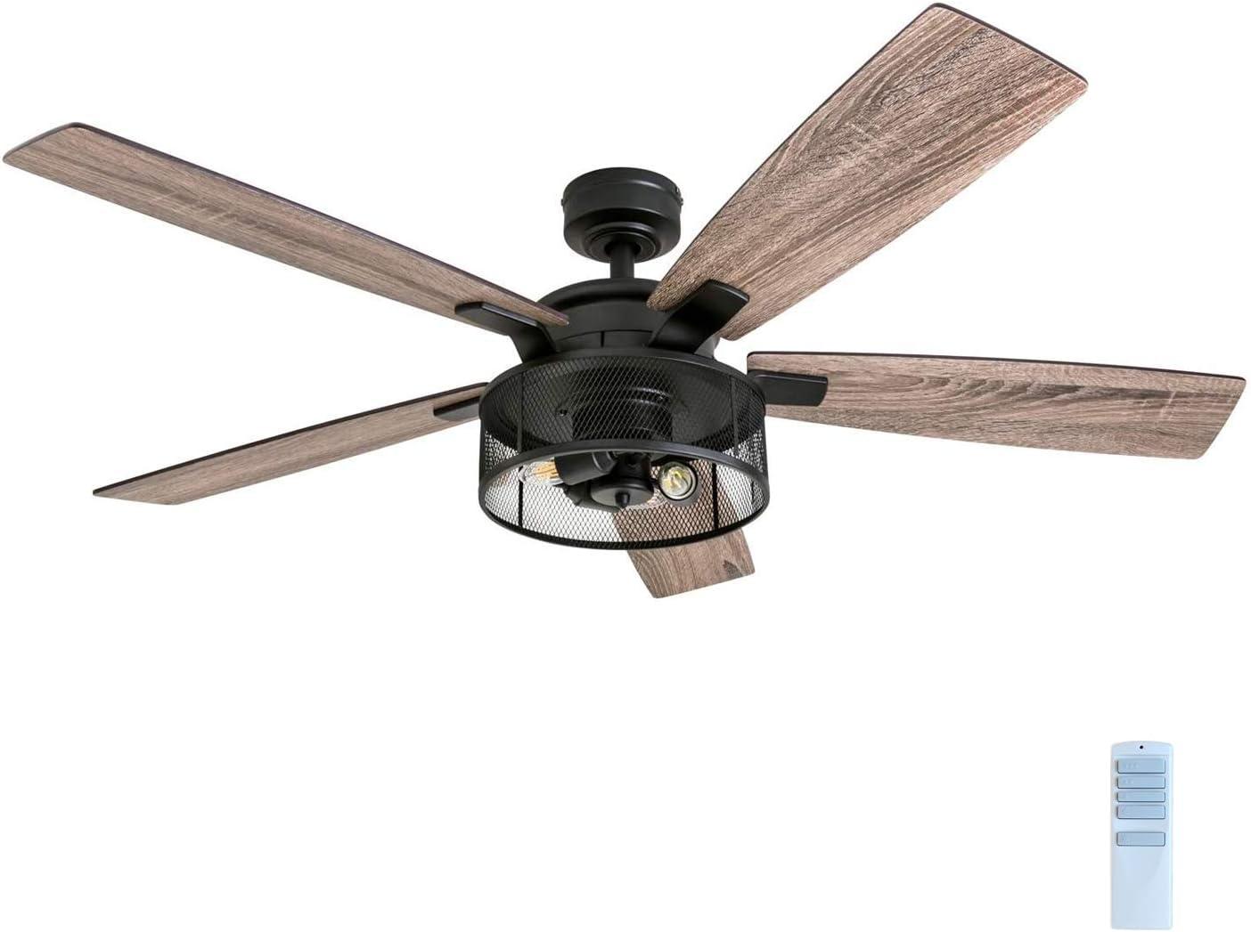 Amazon Com Honeywell Ceiling Fans 50614 01 Carnegie Ceiling Fan 52 Matte Black Home Improvement