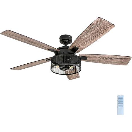 "Honeywell Ceiling Fans 50614-01 Carnegie LED Ceiling Fan 52"", Indoor, Rustic Barnwood Blades, Industrial Cage Light, Matte Black"