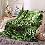Chickwin Flanelldecke Kuscheldecke, 3D Pflanze Blätter Drucken Wohndecke Weiche Warm Decke Flauschige TV-Decke Mikrofaserdecke Sofadecke oder Bettüberwurf Tagesdecke (Grüner Dschungel,180x240cm)