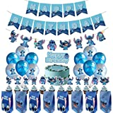 Lilo and Stitch Birthday Party Supplies Includes Happy Birthday Banner - 12 Gift Bags - Cake Topper - Lilo & Stitch Banner - 12 Cupcake Toppers - 12 Balloons for Lilo and Stitch Theme Party Decoration