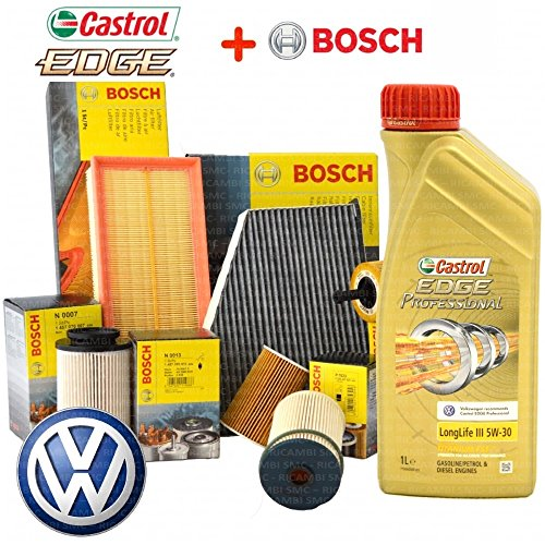 Kit de révision 4 filtres Bosch + 5 l d'huile Castrol Edge Professional LongLife III 5W30 (filtres 1457429192, 1457070007, 1457070013, 1987429404, 1987432397)