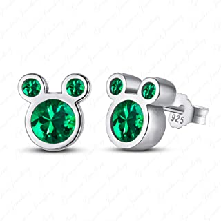 d0acdf368 Gemstone Jewellery 14k White Gold Finishing Green Emerald Mickey Mouse Stud  Earrings In 925 Solid Silver