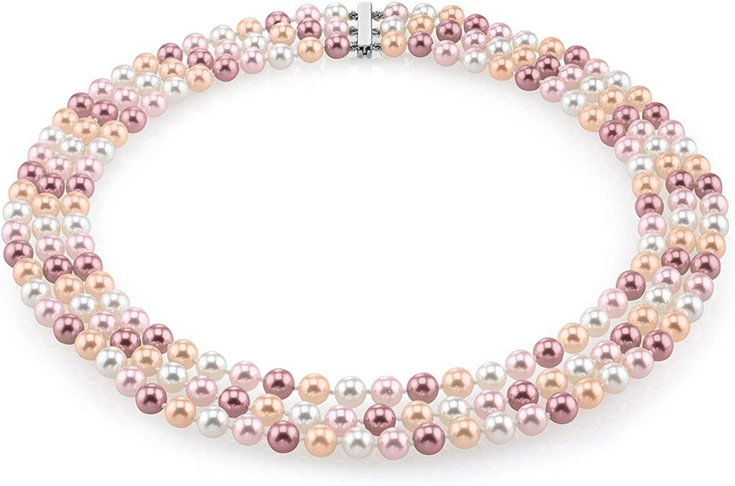 THE PEARL SOURCE 14K Gold AAAA Quality Round Multicolor Freshwater Cultured Pearl Triple Strand Necklace for Women in 18-20