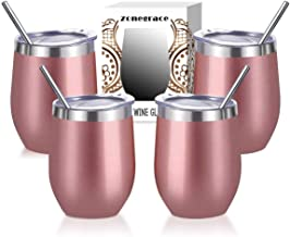 Zonegrace 4 pack Rose Gold 12 Oz Stainless Steel Stemless Wine Glass Mug, Double Wall..