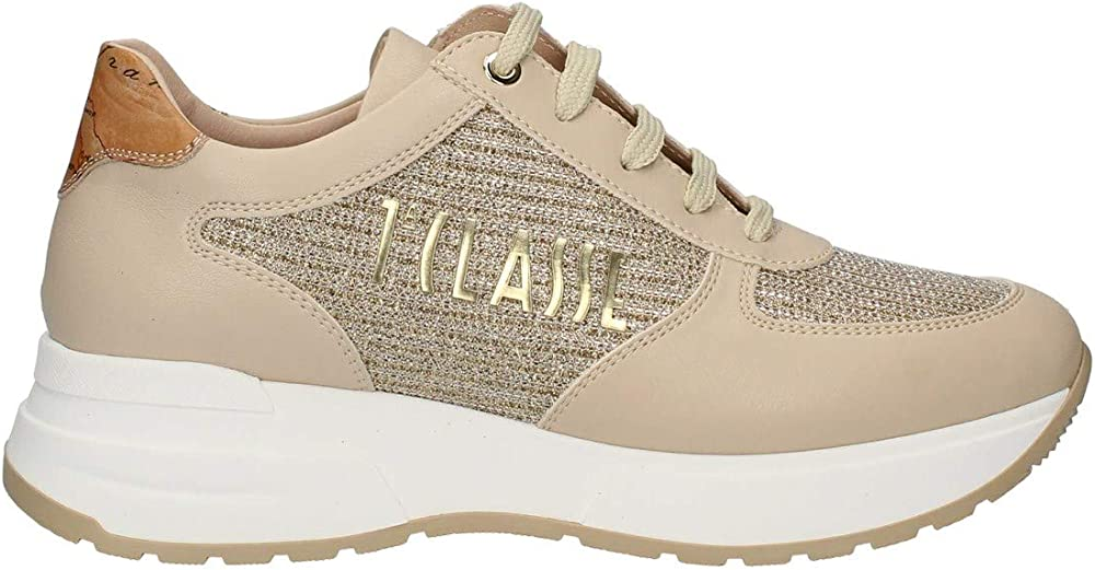 Alviero martini prima classe, scarpe da donna casual, sneakers beige, in pelle e tessuto P21..0939 1196.W029.36