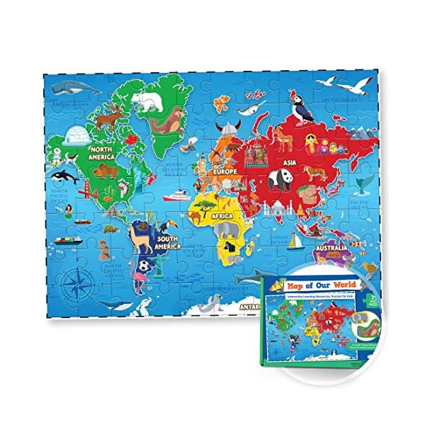 World Map Puzzle for Kids – 75 Piece – World Puzzles with Continents...