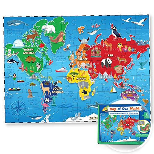 World Map Puzzle for Kids - 75 Piece - World Puzzles with Continents - Childrens Jigsaw Geography Puzzles for Kids Ages 4-8, 5, 6, 7, 8-10 Year Olds - Globe Atlas Puzzle Maps for Kids Learning Games