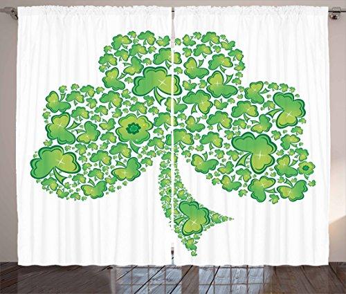 Lunarable Shamrock Curtains, Irish Saint Patrick's Day Pattern with Spring Season Celtic Charm Design, Living Room Bedroom Window Drapes 2 Panel Set, 108' X 84', Green and White