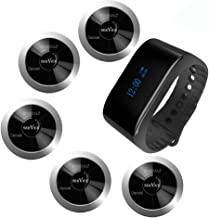 SINGCALL Wireless Restaurant Table Call System Waiter Caller Call Waiter Nurse Family,Pack of 1 Watch Receiver and 5 Pagers