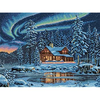 Counted Cross Stitch Kit AURORA CABIN Dimensions Gold Collection