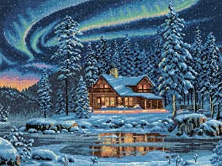 Dimensions Gold Collection Counted Cross Stitch Kit, Aurora Cabin, 16 Count Dove Grey Aida, 16'' x 12''