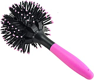 Lolicute 3D Spherical Comb,Curler Comb,Hair Brush Round,Round Hot Curling Brush Lucky Bomb Curl Full Styling Christmas Gift,Valentine's Gift(Pink)