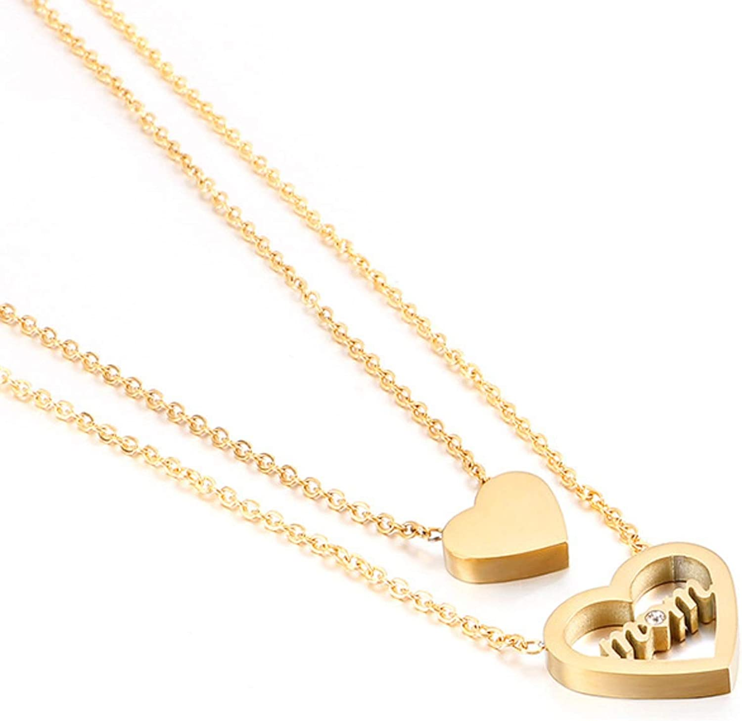Nkoluky Layered Heart Mom Pendant Necklace Plated Stainless Steel Mother Jewelry Gifts