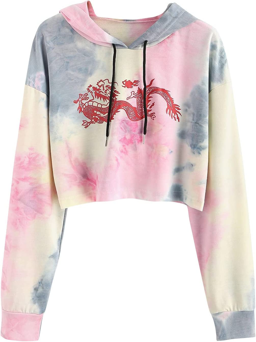 Juniors Women's Casual Printing In a popularity Drawstri List price Long Sleeve Hooded