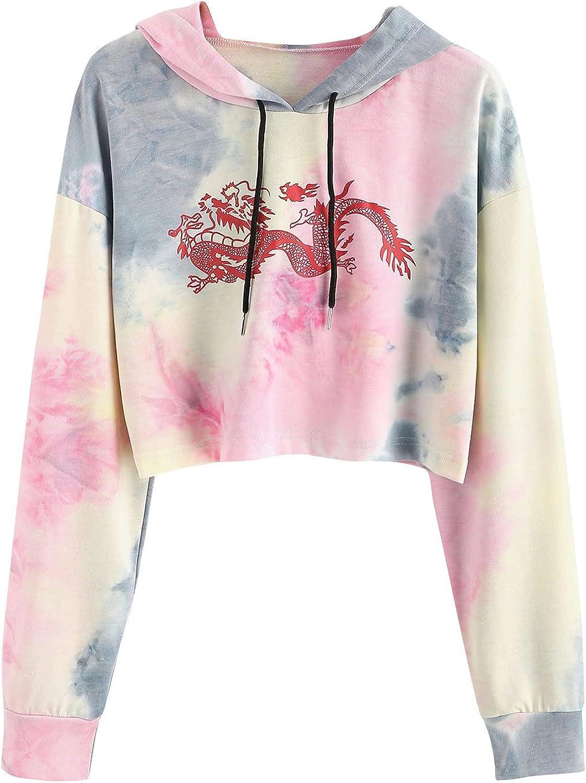 Crop Tops Hoodies for Teen Girls, Women's Casual Long Sleeve Sweatshirt Printing Hooded Pullover with Drawstring
