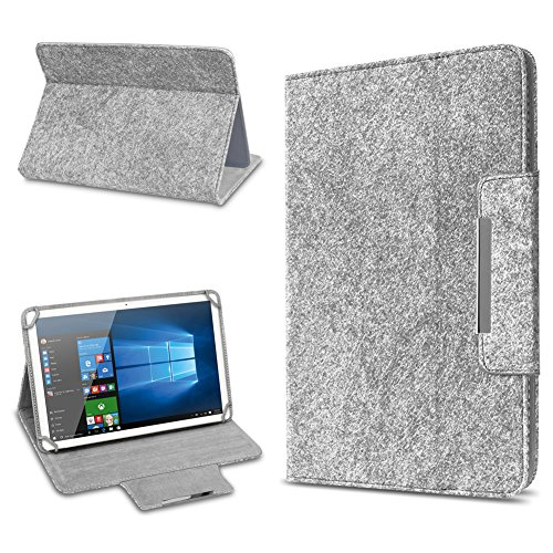 UC-Express Tablet Schutz Hülle für 10 Zoll Filz Tasche Schutzhülle Hülle Cover Standfunktion, Tablet Modell für:ARCHOS 101c Platinum, Farbe:Hell Grau