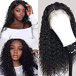 Brazilian Deep Wave Lace Front Wigs Human Hair Pre Plucked 13x6 Lace Front Deep Curly Wigs with Baby Hair Glueless Lace Wigs for Black Women 150% Density Unprocessed Virgin Human Hair(22inch)