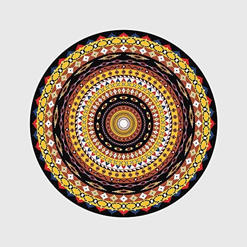 WIVION Teppiche Und Teppiche Für Zu Hause Wohnzimmer Retro Yellow Circle Pattern Runde Teppich Teppiche Anti-Rutsch-Yoga-Teppich Für Kinderzimmer Waschbar,150x150cm(59x59inch)