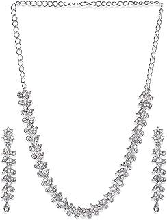Zaveri Pearls Twinkling Leaf Twigs Austrian Diamond Necklace Setfor Women-ZPFK460