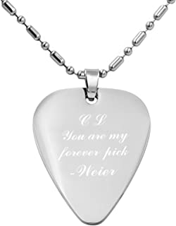 Personalized Stainless Steel Guitar Pick Necklace Silver Pendant - Custom Free Engraved